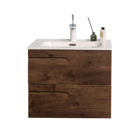 "Eviva Joy 28"" Rosewood Wall Mount Bathroom Vanity w/ White Integrated Top"