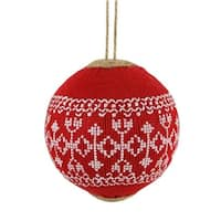 4 in. Alpine Chic Red with White Snowflake Nordic Design Christmas