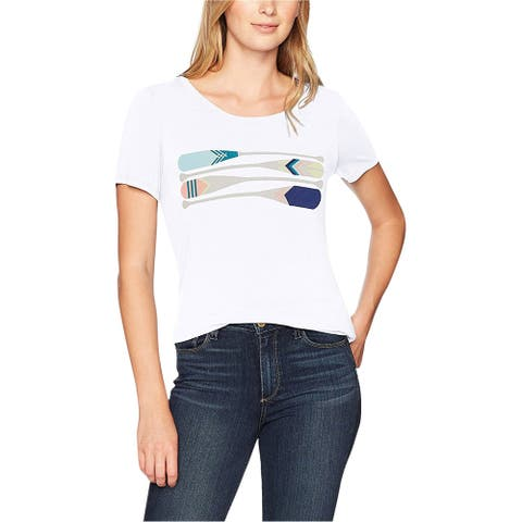G.H. Bass & Co. Womens Paddle Graphic T-Shirt, white, Medium