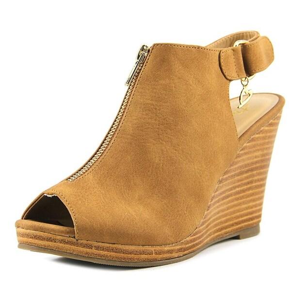 Thalia Sodi Telmap Women Open Toe Synthetic Tan Wedge Sandal
