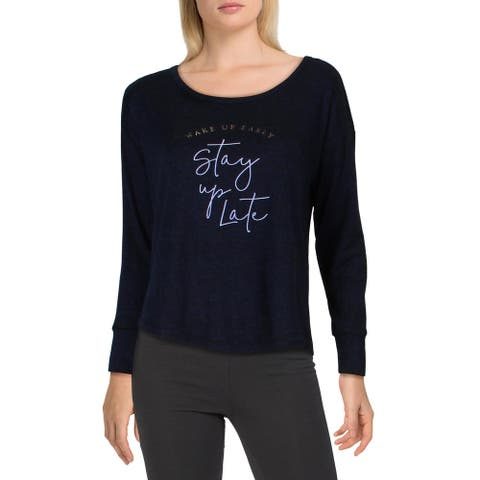 Danskin Womens Wake Up Early, Stay Up Late Sleep Shirt Comfy Sleepwear - Navy Heather - M