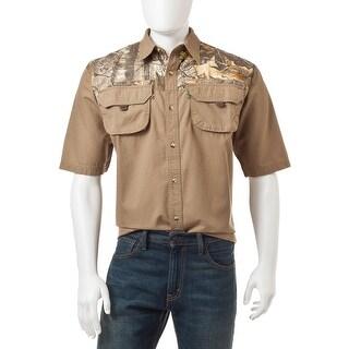 Men's Short Sleeve Button Front Woven Shirt Color Blocked