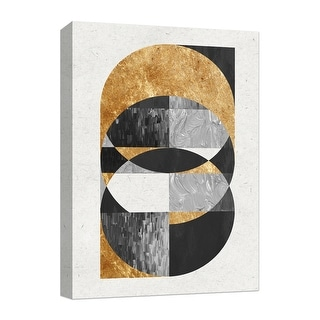 """PTM Images 9-124877  PTM Canvas Collection 10"""" x 8"""" - """"Golden Circles IV"""" Giclee Abstract Art Print on Canvas"""
