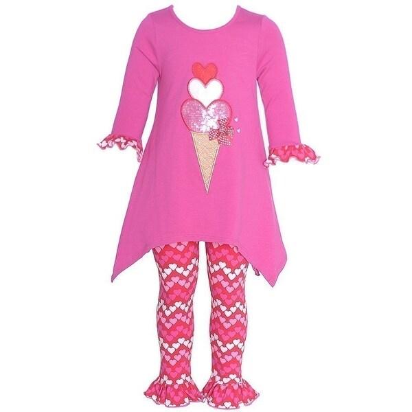 Baby Girls Fuchsia Icecream Heart Applique 2 Pc Legging Set 0-3M