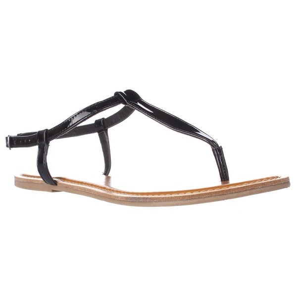 AR35 Krista Thong T-Strap Flat Sandals, Black