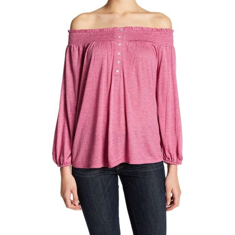 b92b1a72ca Abound NEW Rasberry Pink Small S Junior Off-The-Shoulder Shirred Blouse