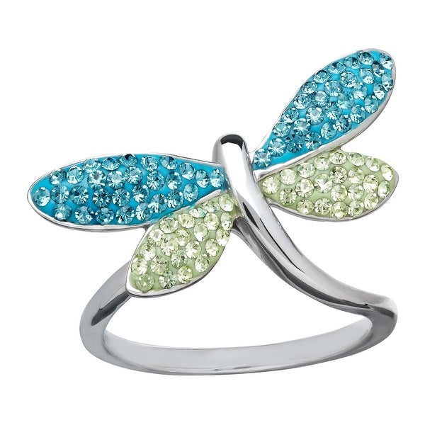 Crystaluxe Dragonfly Ring with Swarovski Crystals in Sterling Silver - Blue