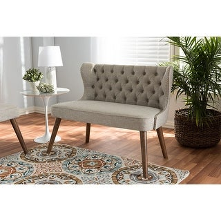 Baxton Studio Scarlett Mid-Century Brown/Beige Fabric Upholstered Button-Tufting with Nail Heads Trim 2-Seater Loveseat Settee