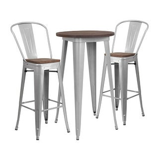 "Offex 24"" Round Silver Metal Bar Table Set with Wood Top and 2 Stools"