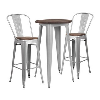 "Offex 24"" Round Silver Metal Bar Table Set with Wood Top and 2 Stools - N/A"