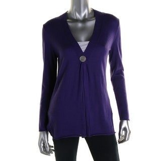 Colour Works Womens Merino Wool Button Front Cardigan Sweater