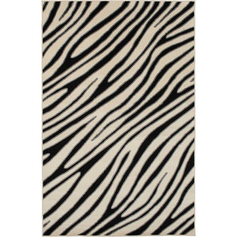 Tecopa Black and White Animal Print Indoor Outdoor Woven Area Rug