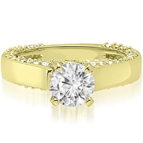 0.90 cttw. 14K Yellow Gold Cathedral Round Cut Diamond Engagement Ring