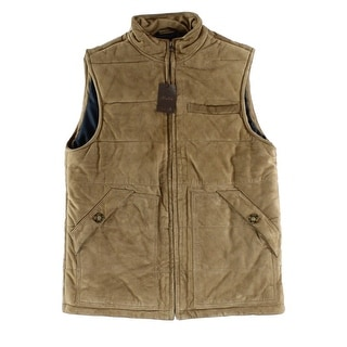 Tasso Elba NEW Beige Mens Size Large L Quilted Suede Leather Vest