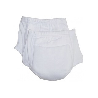 Bambini Baby White Rib Knit Training Pants 2-Pack