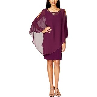 SLNY Womens Capelet Dress Embellished