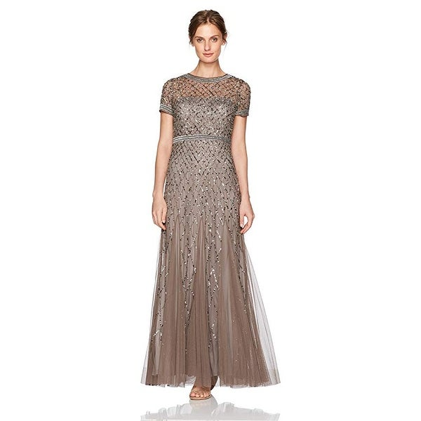 0aa74e91b12 Shop Adrianna Papell Women s Dress Short-Sleeve Beaded Mesh Gown - Free  Shipping Today - Overstock - 24124279