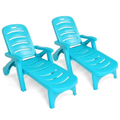 Costway 2 PCS Folding Chaise Lounge Chair 5-Position Adjustable - See details