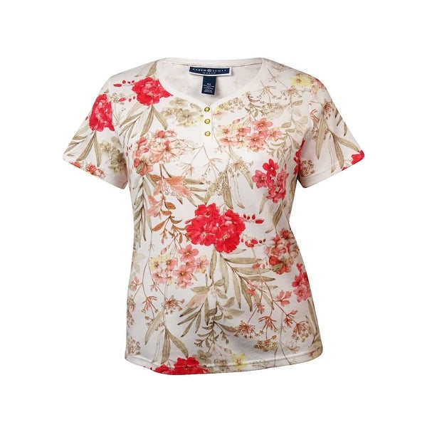 74eb7a07 Shop Karen Scott Women's V-Neck Vintage Floral Print Henley - calypso coral  - 0X - Free Shipping On Orders Over $45 - Overstock - 14696697