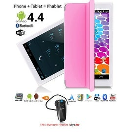"Indigi® 7"" Unlocked 3G SmartPhone 2-in-1 Android 4.4 Tablet PC w/ Built-in Smart Cover + Bluetooth Included(Pink)"