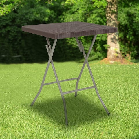 1.95-Foot Square Rattan Plastic Folding Table - Outdoor Event Table