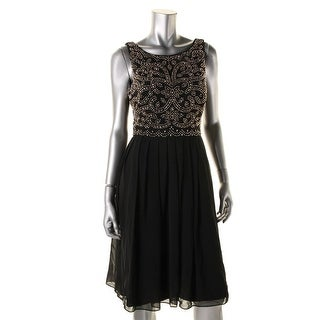 Xscape Womens Embellished Pleated Cocktail Dress