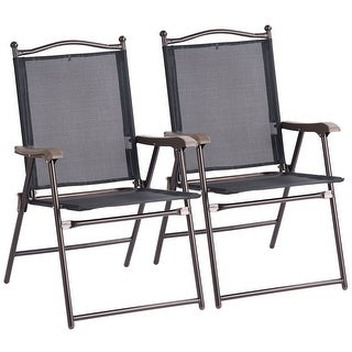 Costway Set of 2 Patio Folding Sling Back Chairs Camping Deck Garden Beach Black