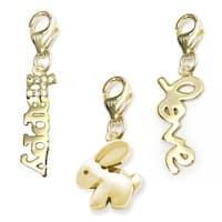 Julieta Jewelry Bunny, Happy, Love 14k Gold Over Sterling Silver Clip-On Charm Set