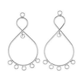 Sterling Silver Teardrop Chandelier Earrings Findings 40mm