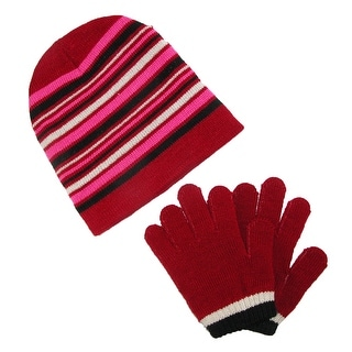 CTM® Girls' Striped Beanie Hat and Gloves Winter Set