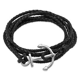 Oxford Ivy Black Leather Wrap Bracelet with Stainless Steel Anchor Clasp