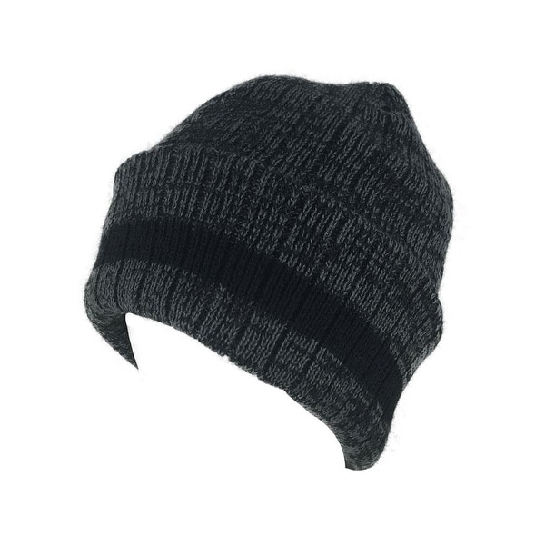 2440551af89 Shop Mens Women H3509B Heather Cuff Knit Beanie Hat - Heather Grey   Black  Stripes - Free Shipping On Orders Over  45 - Overstock - 18616054