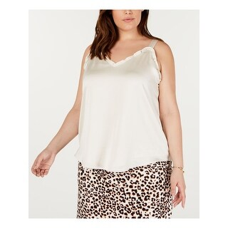 BAR III Womens Ivory Sleeveless V Neck Tank Top  Size 1X