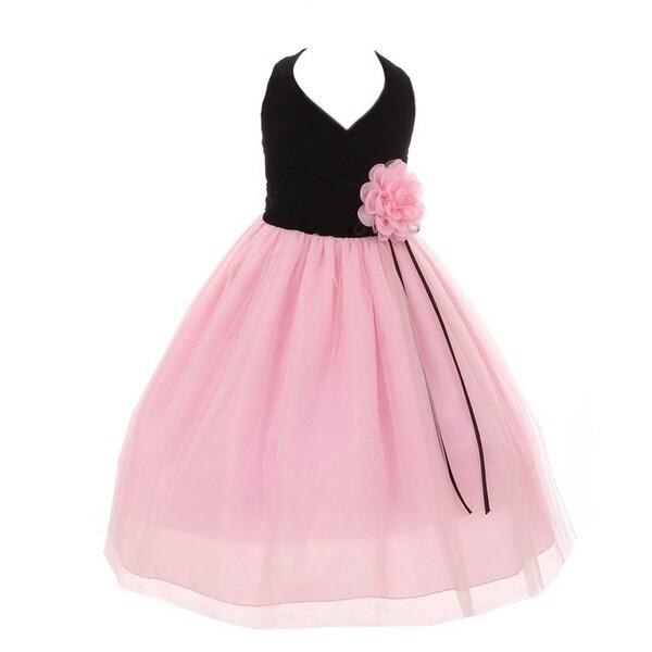 e829468a351 Shop Kiki Kids Little Girls Black Pink Velvet Tulle Flower Christmas ...