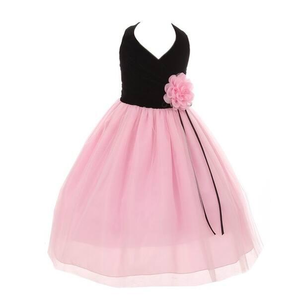 a8f590ef00729 Shop Kiki Kids Little Girls Black Pink Velvet Tulle Flower Christmas ...