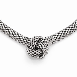 Italian Sterling Silver Ruthenium-plated Necklace with 2in ext - 16 inches