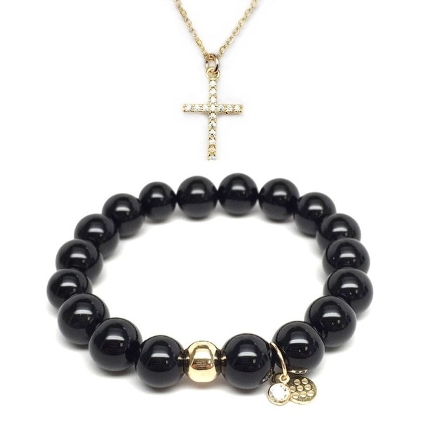"Black Onyx 7"" Bracelet & CZ Cross Gold Charm Necklace Set"