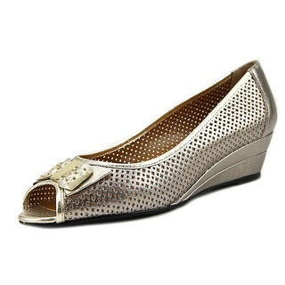 J. Renee Dovehouse Women  Open Toe Leather Gold Wedge Heel