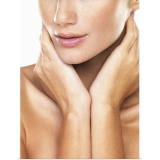 """""""Studio portrait of beautiful woman with hands over neck"""" Poster Print"""