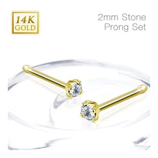 14 Karat Solid Yellow Gold Nose Stud Ring with 2mm Prong-Set Clear CZ - 20 GA (2mm Ball) (Sold Ind.)