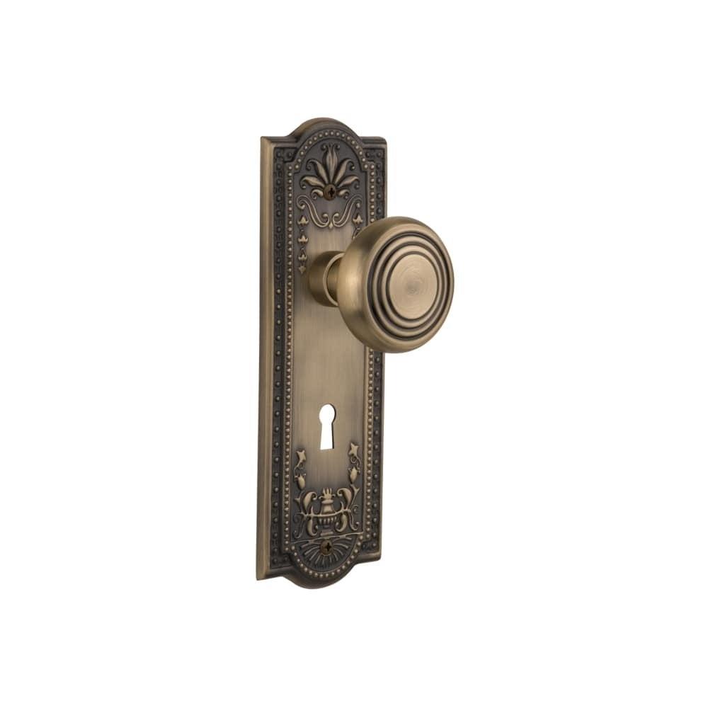 Nostalgic Warehouse MEADEC_PSG_234_KH  Deco Solid Brass Passage Knob Set with Meadows Rose, Keyhole and 2-3/4 Backset (Polished Brass)