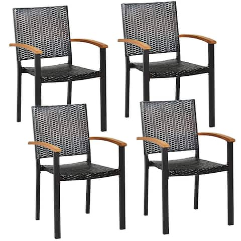 """Set of 4 Outdoor Patio PE Rattan Dining Chairs with Powder-coated Steel Frame - 23.5"""" x 22"""" x 34.5 """" (L x W x H)"""