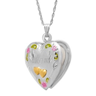 Double Heart 'Mom' Locket in Sterling Silver and 14K Gold - Two-tone