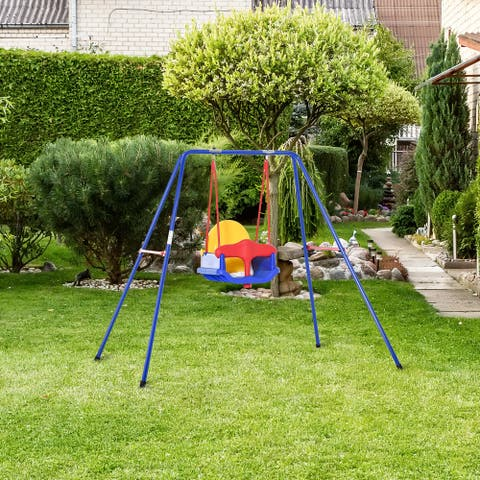 Outsunny Toddler Swing Set w/ High Back Seat Safety Harness for Backyard Age 6-36 Months