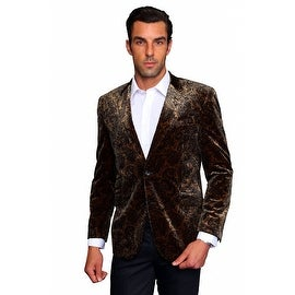 MZV-200 TAN Men's Manzini Fancy Paisley design Velvet, sport coat