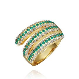 Gold Plated Matrix Curved Emerald Jewels Ring