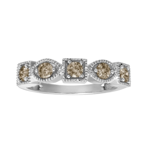 1/2 ct Champagne Diamond Ring in 10K White Gold