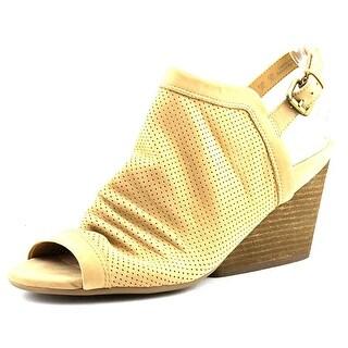 Naya Luxor Women Open Toe Leather Brown Wedge Sandal