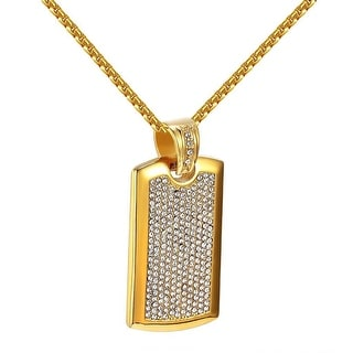 Iced Out Dog Tag Pendant Necklace Lab Diamonds Micro Pave Stainless Steel