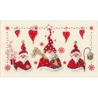 """11.6""""X6.8"""" 14 Count - Cheerful Santas On Aida Counted Cross Stitch Kit"""